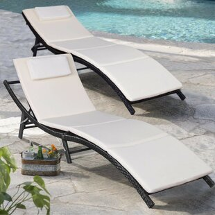 Artie Outdoor Reclining Chaise Lounge with Cushion