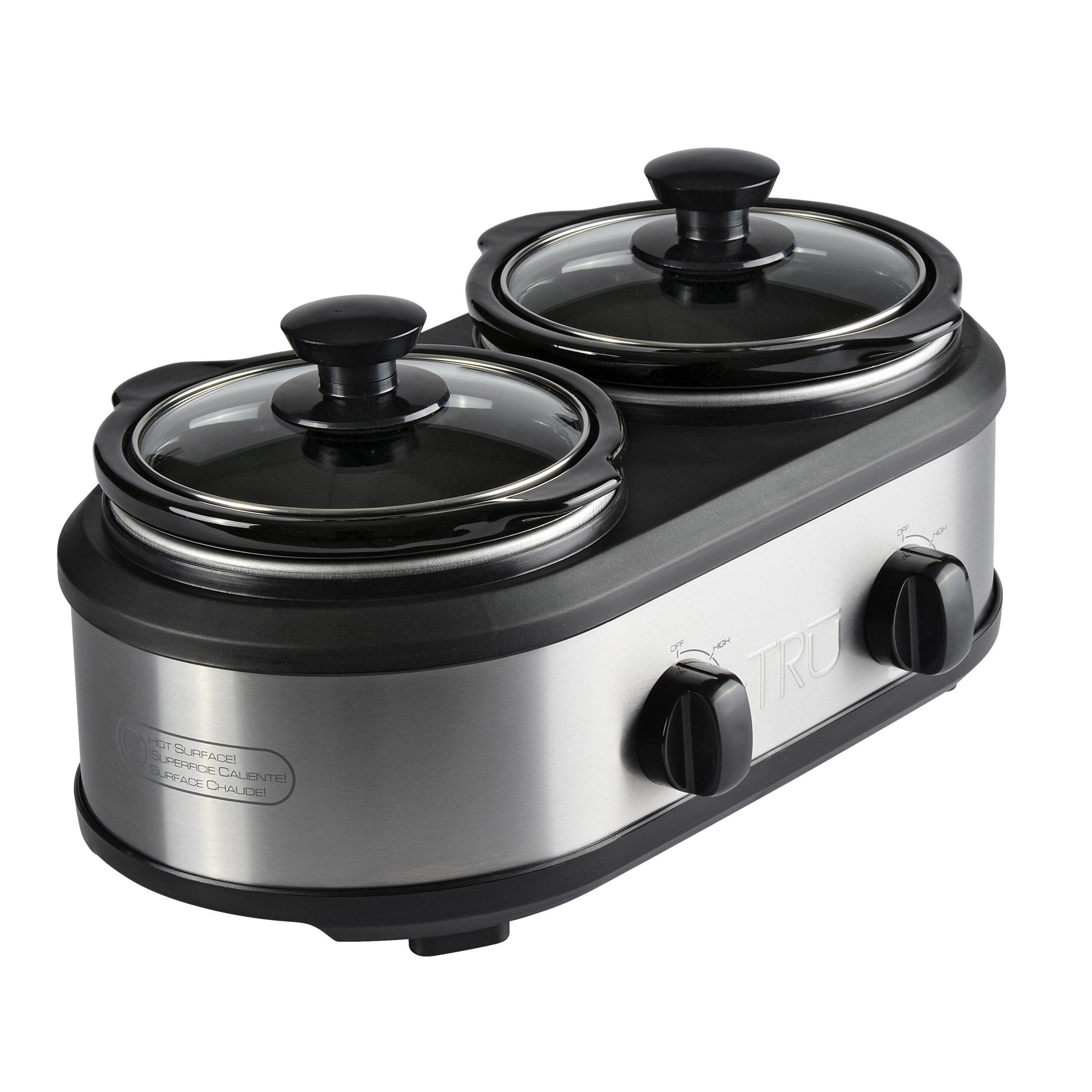 TRU Triple Slow Cooker Crock Pot Buffet Server Set 3 x 2.5 Quart Oval Inserts