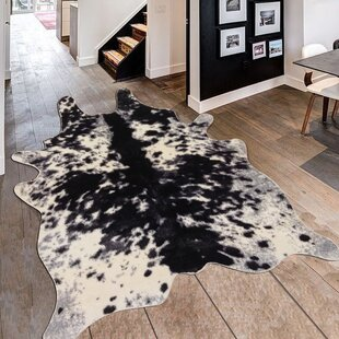 Alegre Faux Animal Cow Shape Black/White Indoor Area Rug By Bloomsbury Market