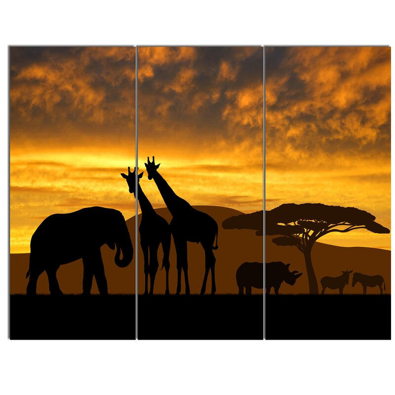 Designart Giraffes And Elephant And Rhino 3 Piece Painting Print On Wrapped Canvas Set Wayfair