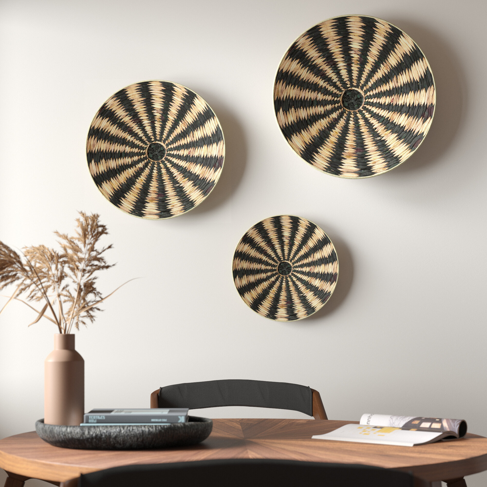 3 Piece Striped Circular Rattan Tray