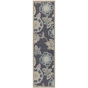 Deck Floral Vine Navy Indoor/Outdoor Area Rug
