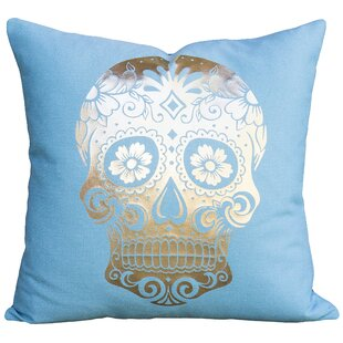 Sugar Skull Cotton Throw Pillow