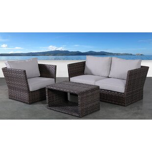 Rosecliff Heights Cochran 4 Piece Rattan Sofa Seating Group with Cushions