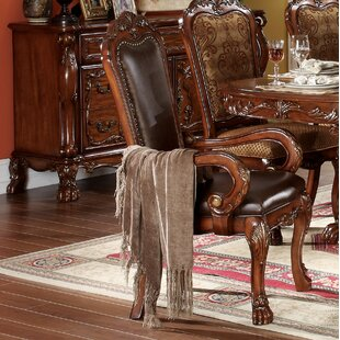 Astoria Grand Welliver Carved Upholstered Dining Armchair (Set of 2)