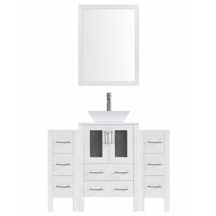Modern 48 Single Bathroom Vanity Set with Mirror by LessCare