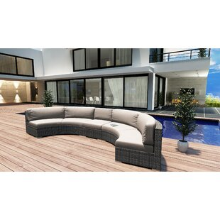 Hobbs 3 Piece Extended Curved Sectional Set with Cushions by Rosecliff Heights