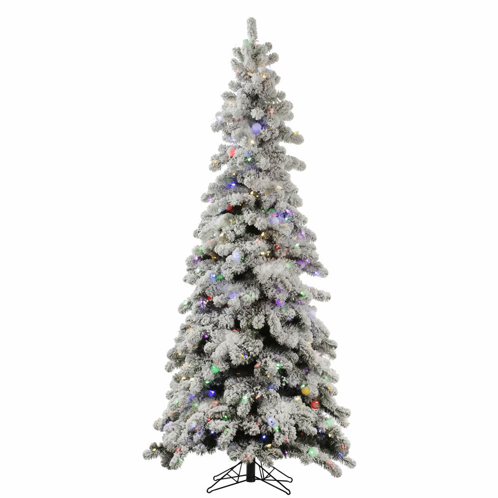 latitude run flocked kodiak 5 white spruce artificial christmas tree with 285 led multi colored lights wayfair