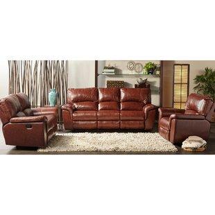 Albertus 3 Piece Leather Configurable Living Room Set