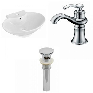 Find for Ceramic 23 Wall-Mount Bathroom Sink with Faucet and Overflow By Royal Purple Bath Kitchen