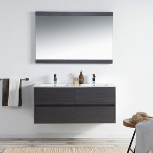 Inexpensive Oquendo 48 Wall-Mounted Double Bathroom Vanity Set with Mirror By Orren Ellis