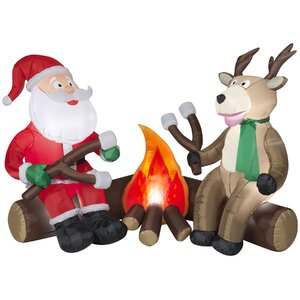 Projection Airblown Fire and Ice Santa and Reindeer Camping Scene Inflatable