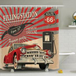 Vintage Retro Poster Effect Shower Curtain Set