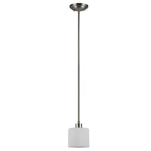 Ebern Designs Sakar Glass 1-Light Drum Pendant