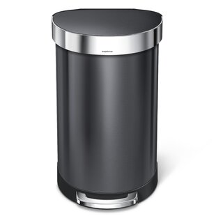 45 Liter Semi-Round Step Trash Can Stainless Steel