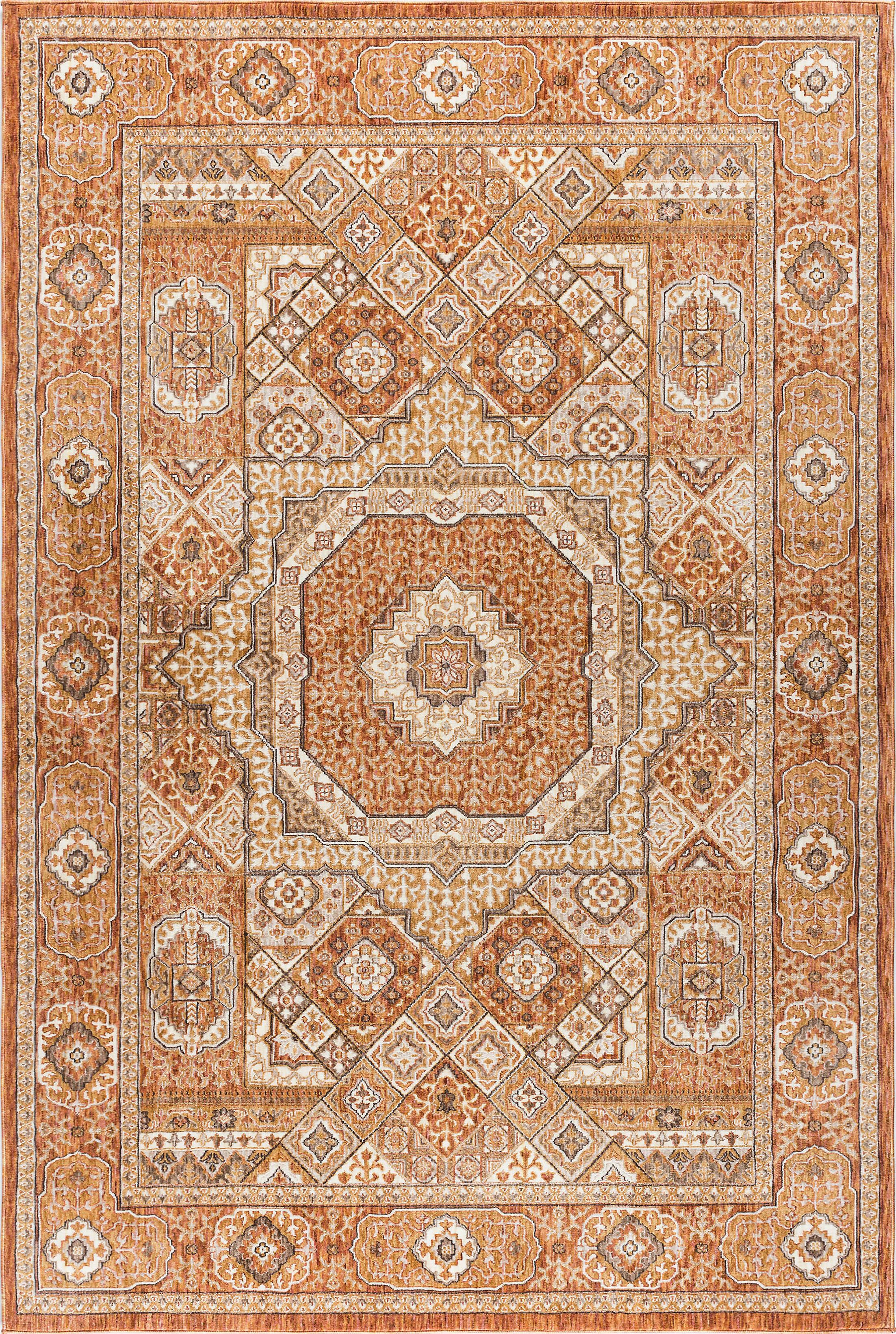 Three Posts Matteson Traditional Oriental Ivory Orange Area Rug Wayfair