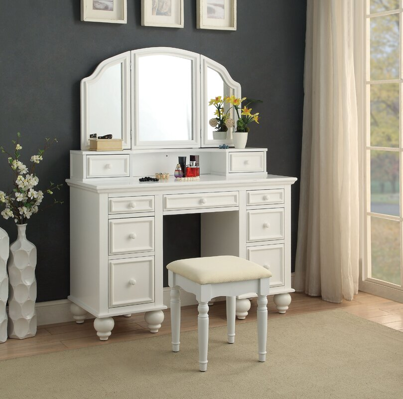 Anthonyson Transitional Vanity Set With Mirror