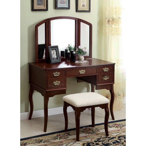 darby home co falconer 3 piece vanity and stool set u0026 reviews wayfair