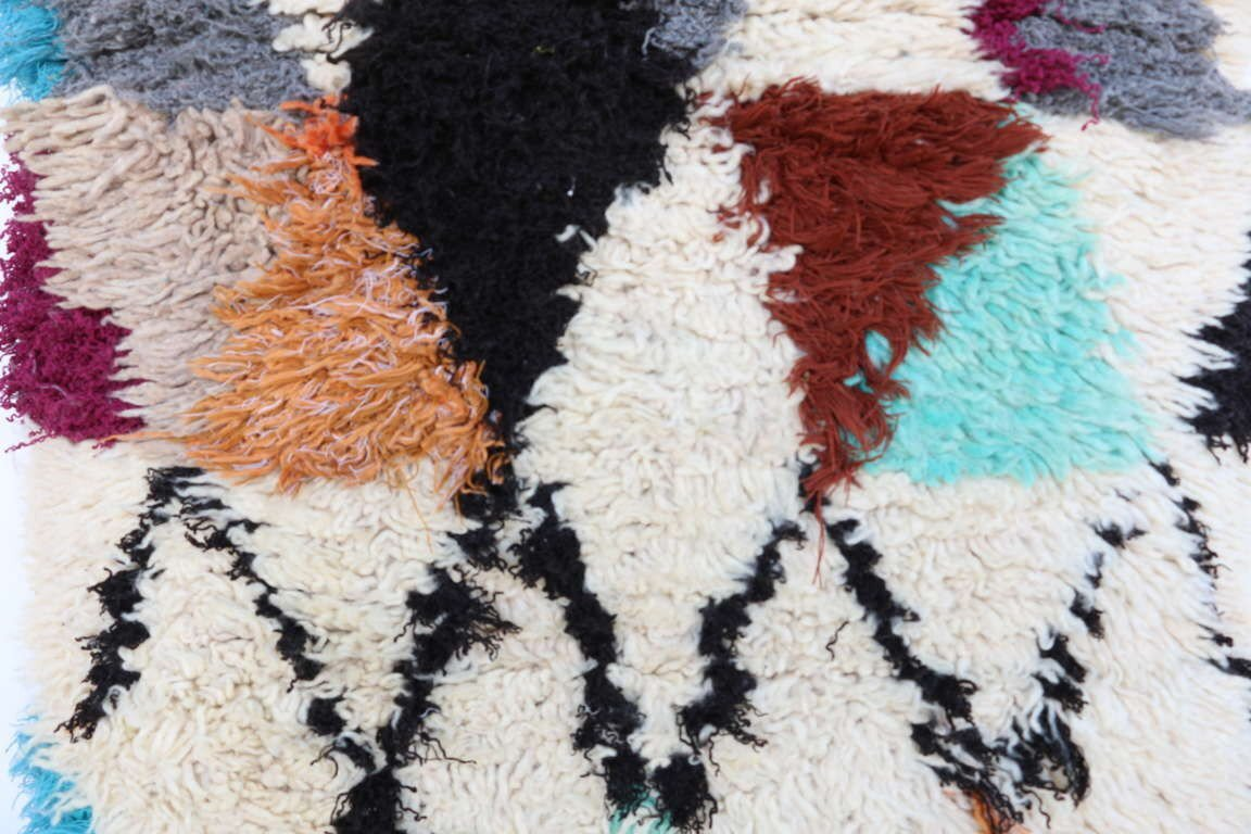 Azilal Vintage Moroccan Hand Knotted Wool Cream/Teal/Dark Red Area Rug