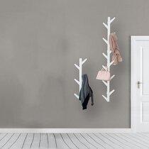 Wall Hanger Coat Rack Wall-Mounted Bamboo Hook Hanging Rack Holder 4 hooks