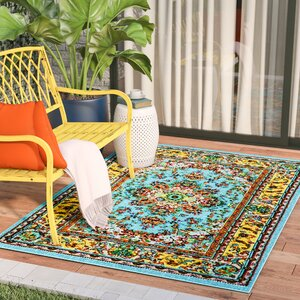 Dunlap Blue/Yellow Indoor/Outdoor Area Rug