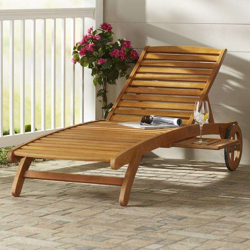 Beachcrest Home Joaquin Balau Wood Patio Chaise Lounge Reviews Wayfair