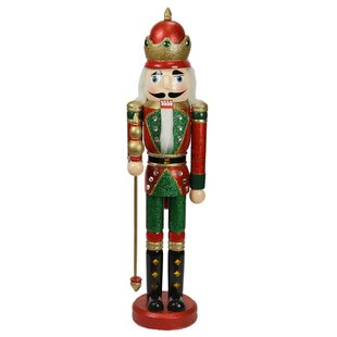 decorative wooden christmas nutcracker king with scepter