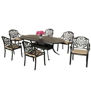 Nina 7 Piece Sunbrella Dining Set with Sunbrella Cushions by Fleur De Lis Living