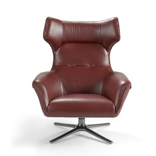 Vaccine Leather Upholstered Swivel Wingback Chair