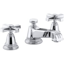 pinstripe widespread bathroom sink faucet with cross handles - Bathroom Sink Faucet