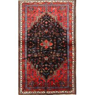 One-of-a-Kind Musselman Hamedan Persian Hand-Knotted 3'5 x 5'7 Wool Orange/Black Area Rug Isabelline