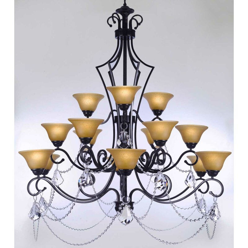 Astoria Grand Alvan 15 Light Shaded Tiered Chandelier With Crystal Accents Wayfair Ca