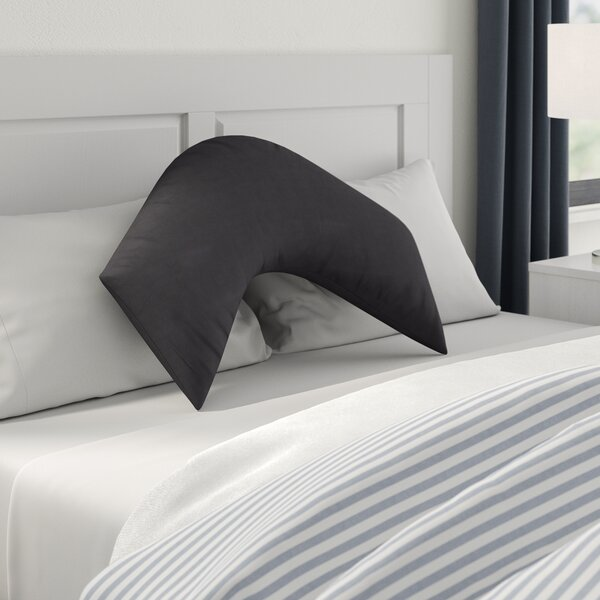 V-SHAPED BACK /& NECK SUPPORT POLY COTTON BLACK PILLOW CASE COVER ONLY