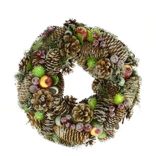 125 natural pine cone and fruit artificial christmas wreath