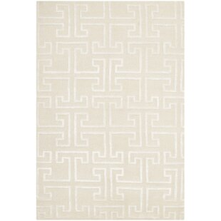 Bargain Fogg Tibetan Hand Knotted Ivory/White Area Rug By Everly Quinn
