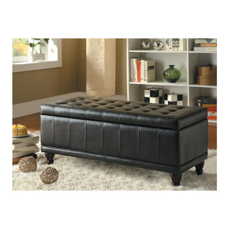 Chaise Lounge Storage Bench Faux Leather Ottoman Seat Bedroom Seating Sofa Unit
