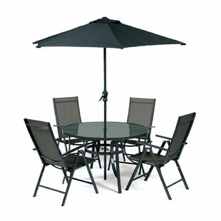 Woodminster 4 Seater Dining Set With Parasol By Sol 72 Outdoor