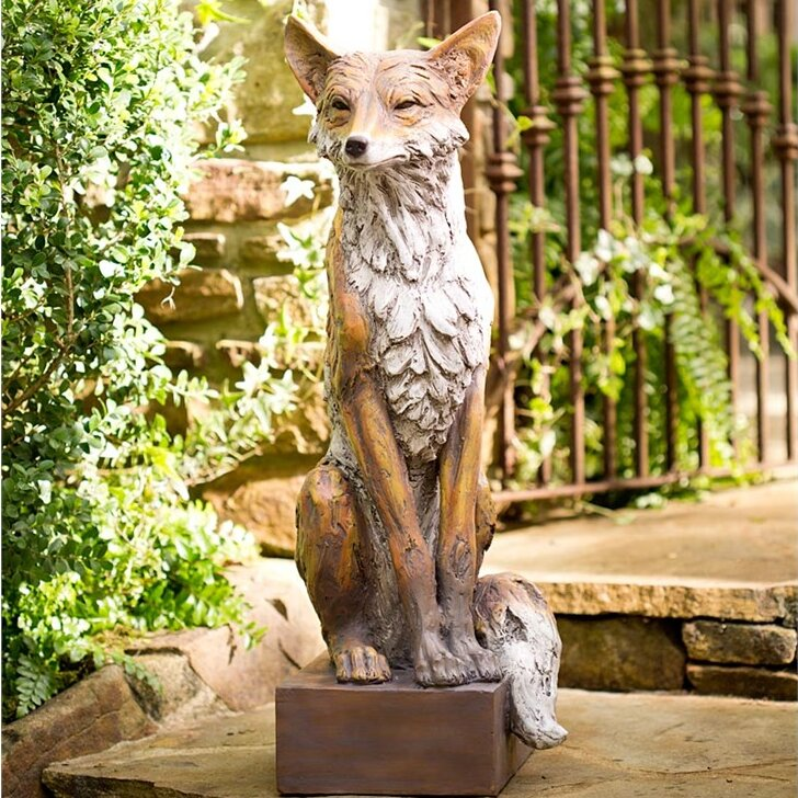 Lifesize Noble Fox Garden Statue