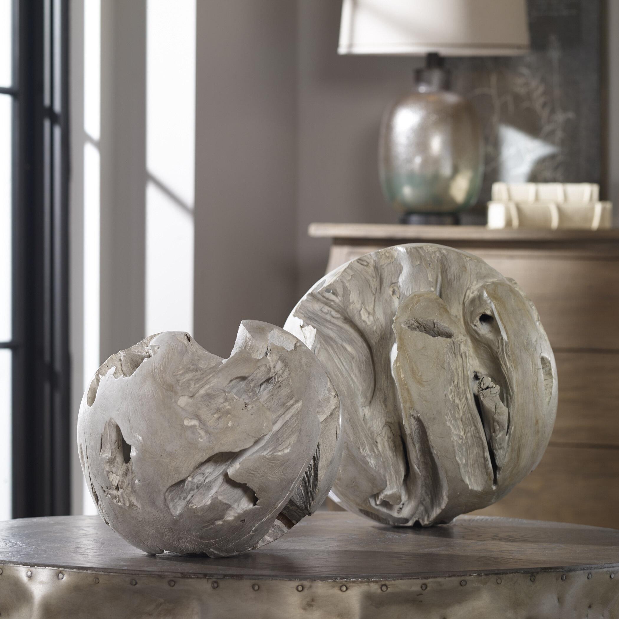 Loon Peak 2 Piece Gray Teak Sculpture Set Wayfair