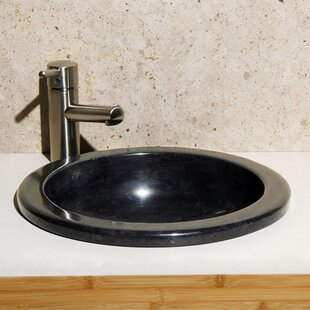 Allstone Group Lime Stone Circular Drop-In Bathroom Sink