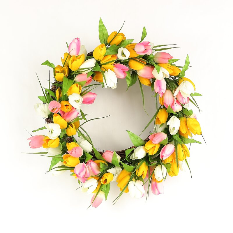 Luxurious Tulip Blossom Polysilk Wreath