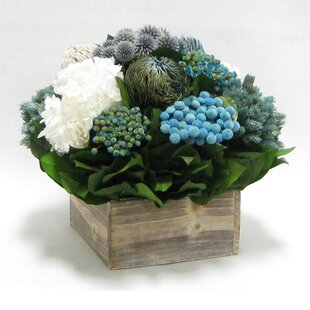 Mixed Floral Centerpiece in Wooden Cube Container