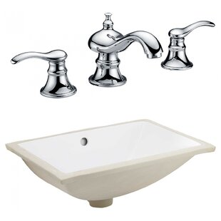Affordable Price CSA Ceramic Rectangular Undermount Bathroom Sink with Faucet and Overflow By Royal Purple Bath Kitchen