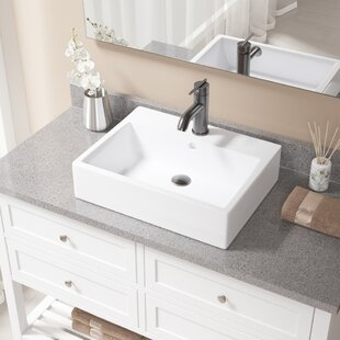 Order Vitreous China Rectangular Vessel Bathroom Sink with Faucet and Overflow ByMR Direct