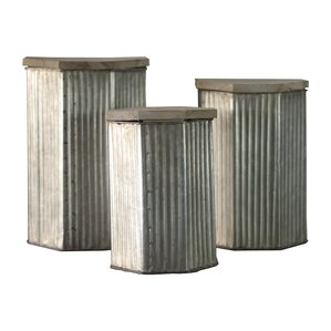 Metal 3 Piece Kitchen Canister Set