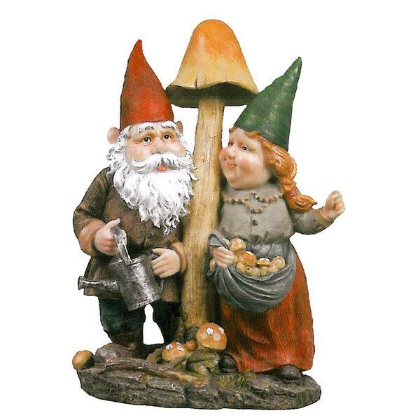 Design Toscano Mushroom Hunters Garden Gnome Statue U0026 Reviews | Wayfair