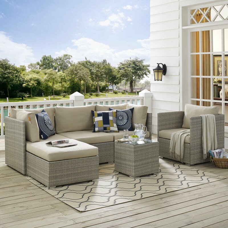 Highland Dunes Heinrich Outdoor Patio 6 Piece Rattan Sectional Seating Group with Sunbrella Cushions