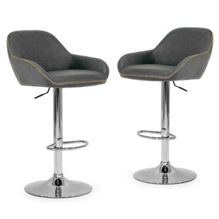 Alan Adjustable Height Swivel Bar Stool (Set of 2) by Glamour Home Decor