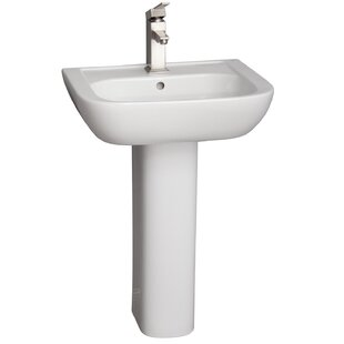 Caroline Lavatory Vitreous China Pedestal Bathroom Sink with Overflow By Barclay