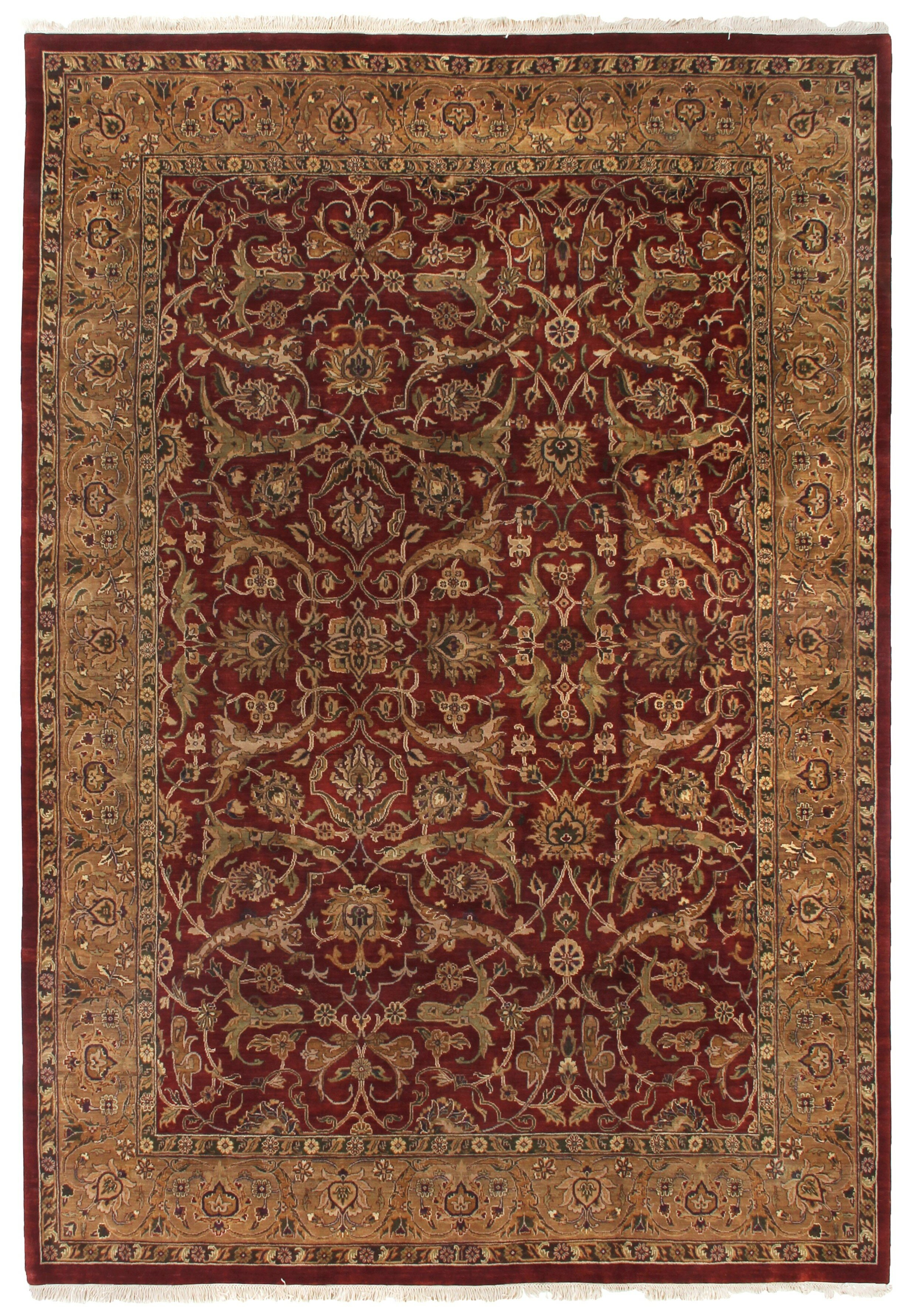 Exquisite Rugs Moghul Hand Knotted Wool Red Gold Area Rug Wayfair